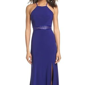 Beaded Mesh Halter Gown Electric Blue